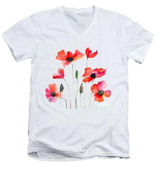 Colorful Red Flowers Men's V-Neck T-Shirt