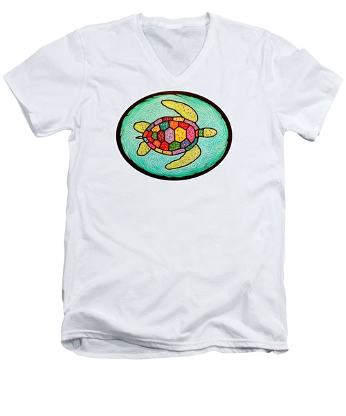 Colorful Sea Turtle Men's V-Neck T-Shirt by Jim Harris