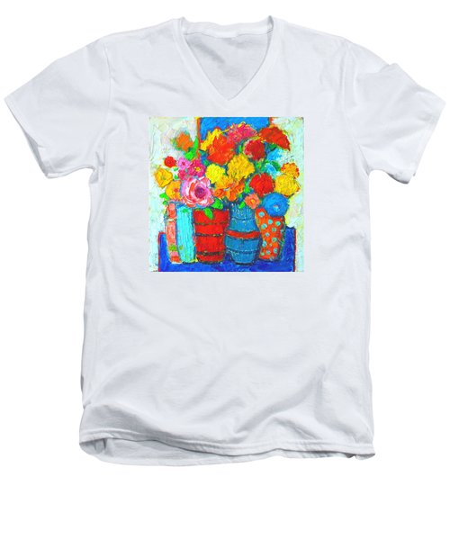 Colorful Vases And Flowers - Abstract Expressionist Painting Men's V-Neck T-Shirt