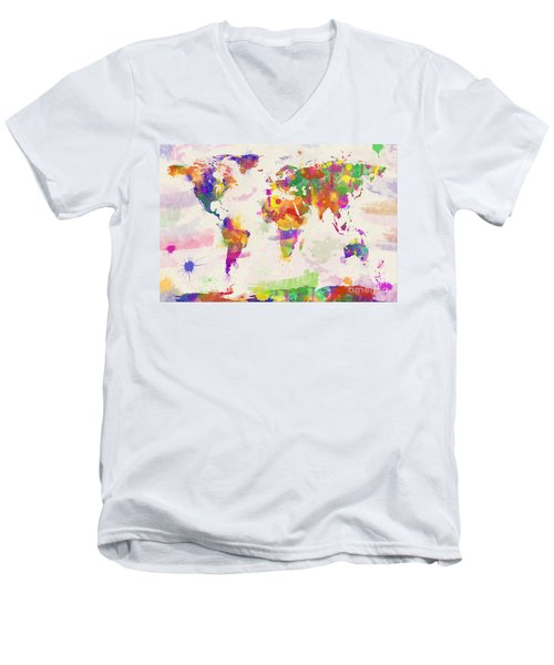 Colorful Watercolor World Map Men's V-Neck T-Shirt