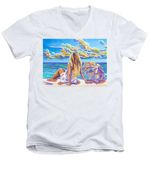 Colorful Woman At The Beach Men's V-Neck T-Shirt