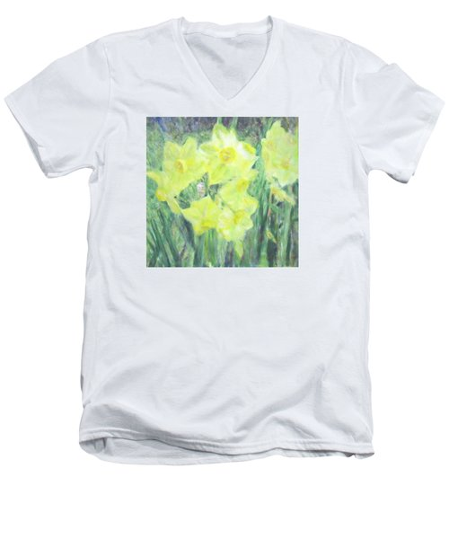 Colorful  Yellow Flowers Men's V-Neck T-Shirt