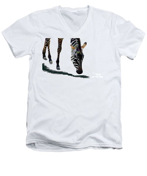 Men's V-Neck T-Shirt featuring the digital art Colorful Zebra 2 by Teresa Zieba