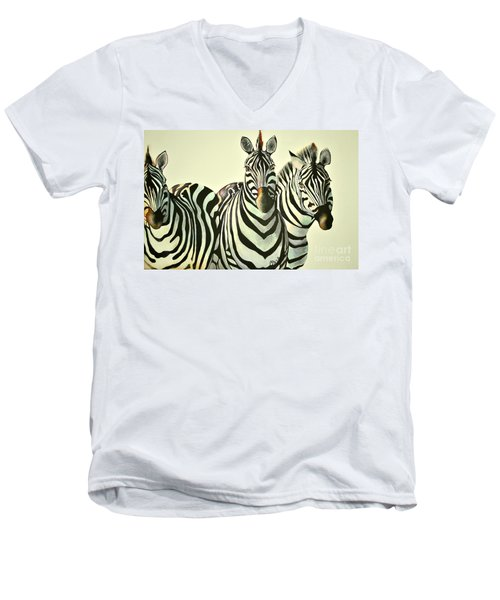 Colorful Zebras Painting Men's V-Neck T-Shirt by Maja Sokolowska