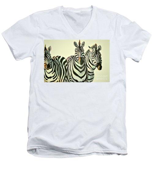 Colorful Zebras Painting Men's V-Neck T-Shirt