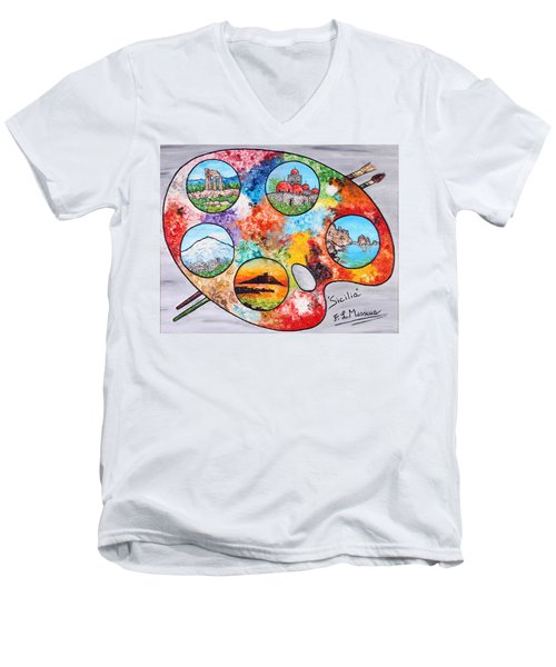 Colori Di Sicilia Men's V-Neck T-Shirt by Loredana Messina