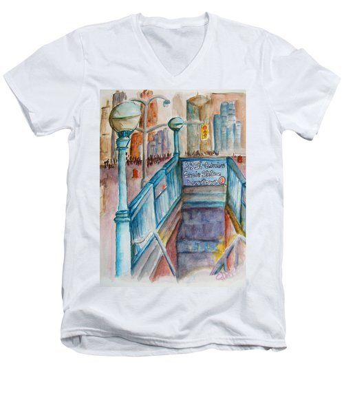 Columbus Circle Subway Stop Men's V-Neck T-Shirt