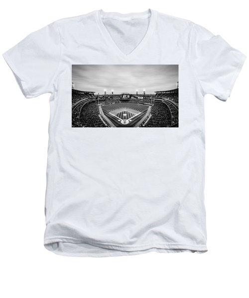 Comiskey Park Night Game - Black And White Men's V-Neck T-Shirt