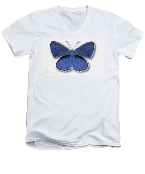 Common Blue Butterfly - Polyommatus Icarus Butterfly Naturalistic Painting - Nettersheim Eifel Men's V-Neck T-Shirt