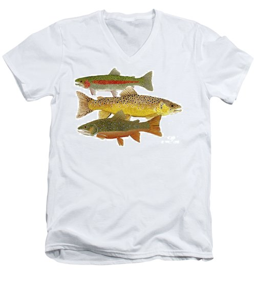 Men's V-Neck T-Shirt featuring the painting Common Trout  Rainbow Brown And Brook by Thom Glace