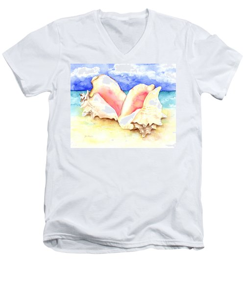 Conch Shells On Beach Men's V-Neck T-Shirt
