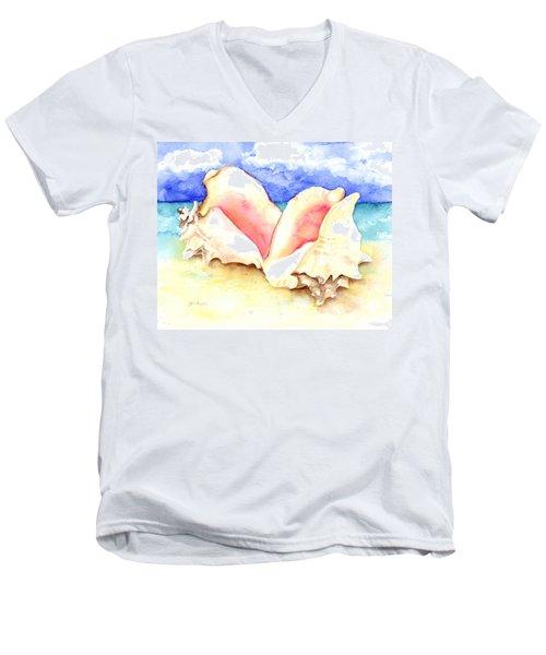Conch Shells On Beach Men's V-Neck T-Shirt