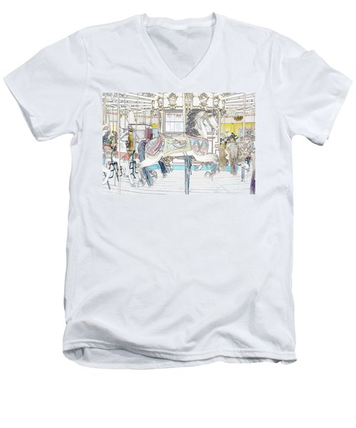 Coney Island Carousel Men's V-Neck T-Shirt