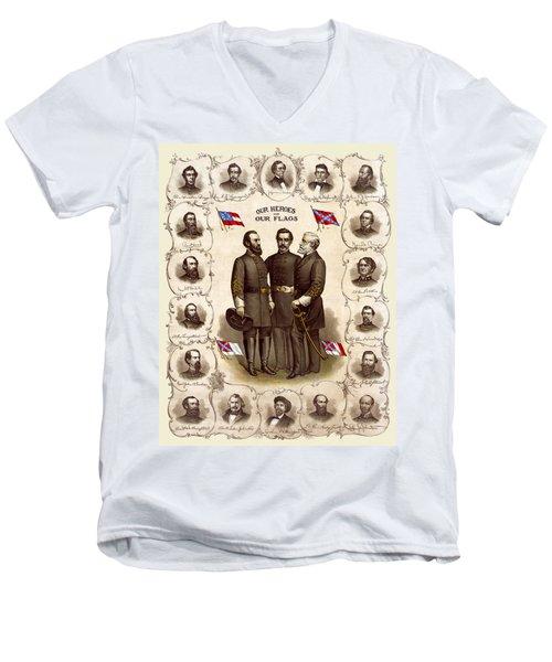 Confederate Generals And Flags Men's V-Neck T-Shirt