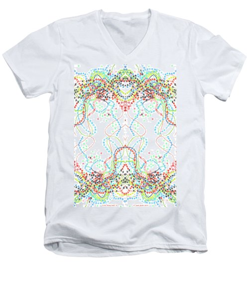 Men's V-Neck T-Shirt featuring the drawing Confetti Rorschach by Carol Jacobs