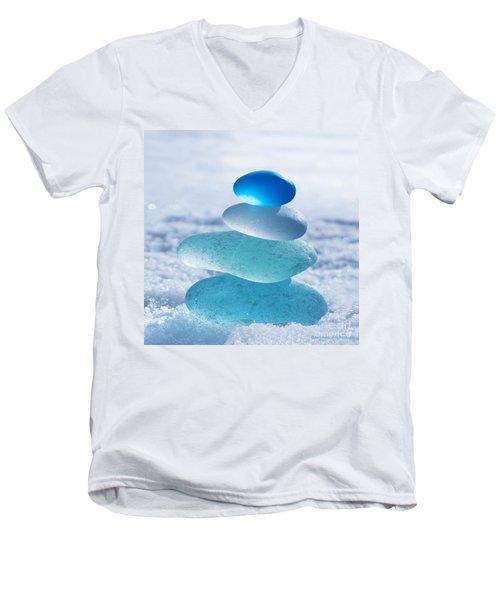 Cool Blues Men's V-Neck T-Shirt by Barbara McMahon