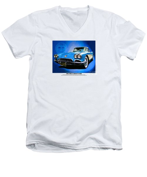 Cool Corvette Men's V-Neck T-Shirt by Kenneth De Tore