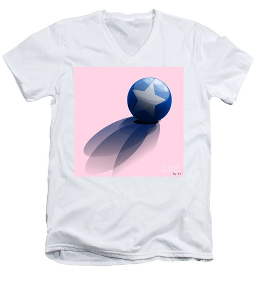 Blue Ball Decorated With Star Men's V-Neck T-Shirt by R Muirhead Art