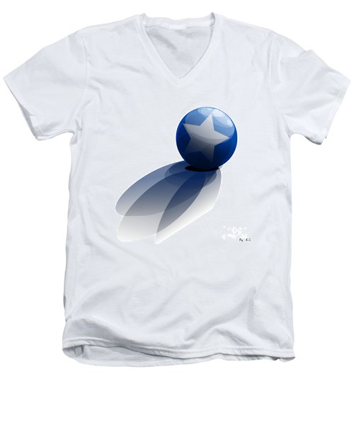 Men's V-Neck T-Shirt featuring the digital art Blue Ball Decorated With Star Grass White Background by R Muirhead Art