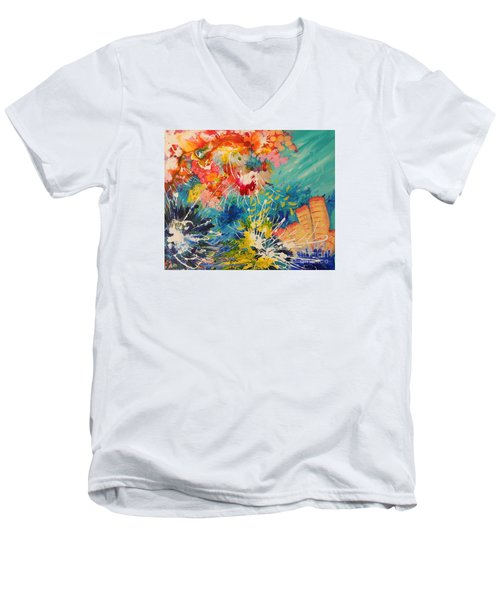 Coral Madness Men's V-Neck T-Shirt by Lyn Olsen