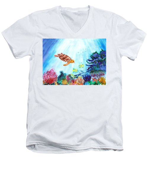 Men's V-Neck T-Shirt featuring the painting Coral Reef by Donna Walsh