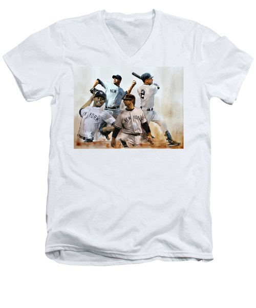 Core  Derek Jeter Mariano Rivera  Andy Pettitte Jorge Posada Men's V-Neck T-Shirt by Iconic Images Art Gallery David Pucciarelli