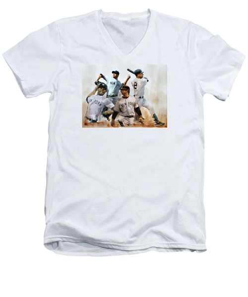 Core  Derek Jeter Mariano Rivera  Andy Pettitte Jorge Posada Men's V-Neck T-Shirt by Iconic Images Art Gallery David Pucciarelli