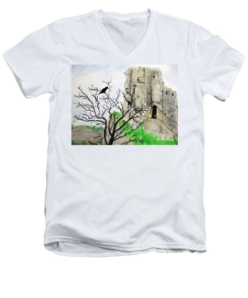 Corfe Castle And Crow Men's V-Neck T-Shirt