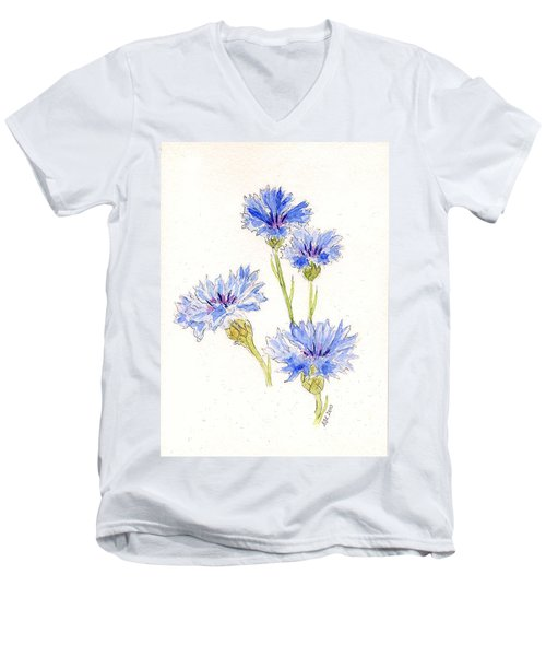 Men's V-Neck T-Shirt featuring the painting Cornflowers by Stephanie Grant