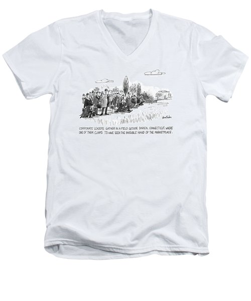 Corporate Leaders Gather In A Field Men's V-Neck T-Shirt