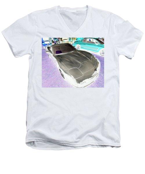 Men's V-Neck T-Shirt featuring the photograph Corvette 2003 50th Anniv. Edition by John Schneider
