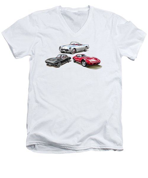Men's V-Neck T-Shirt featuring the digital art Corvette Generation by Thomas J Herring