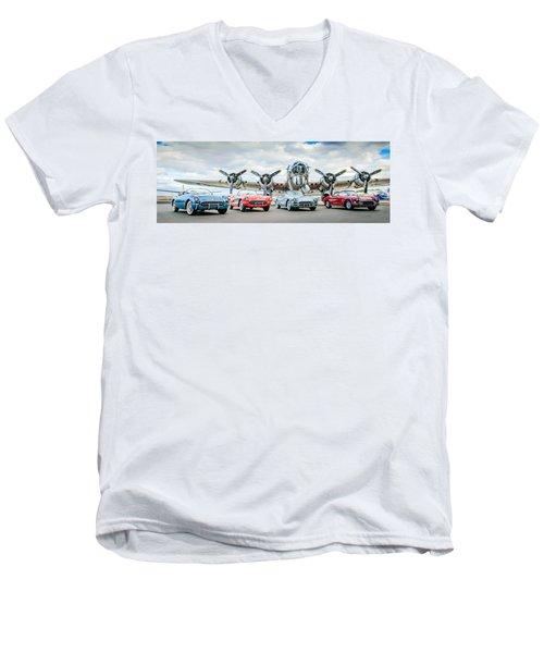 Corvettes With B17 Bomber Men's V-Neck T-Shirt