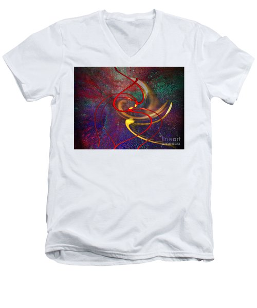 Cosmic Kiss Men's V-Neck T-Shirt by Cedric Hampton