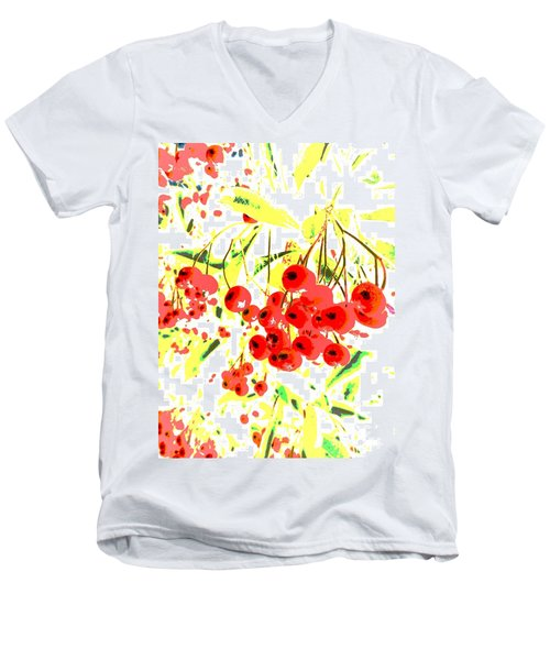 Men's V-Neck T-Shirt featuring the photograph Cotoneaster by Barbara Moignard
