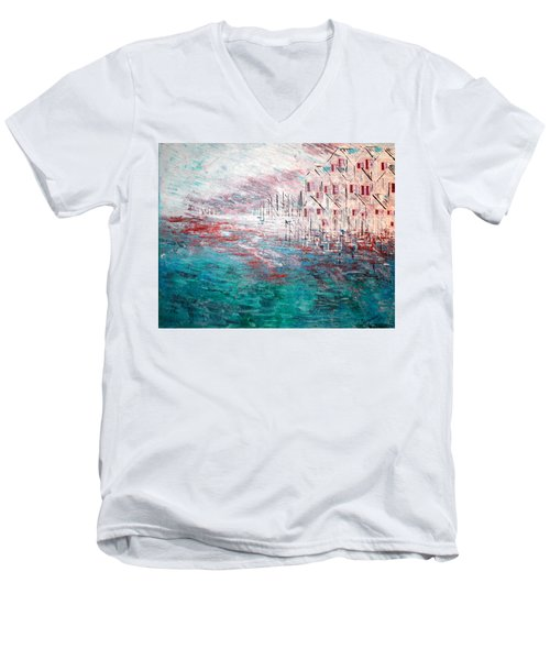Cottages On The Bay  Men's V-Neck T-Shirt by George Riney