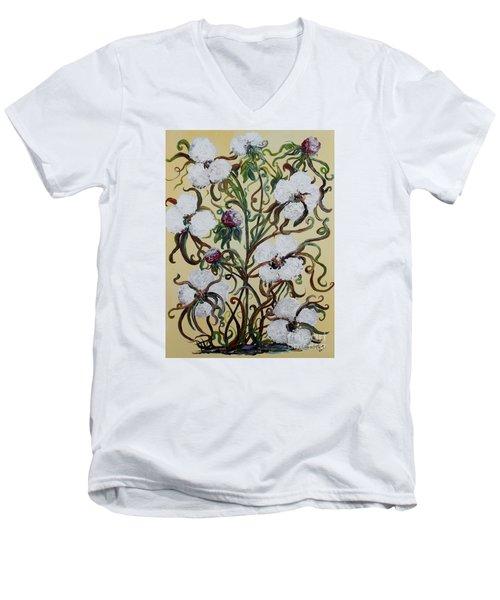 Cotton #1 - King Cotton Men's V-Neck T-Shirt by Eloise Schneider