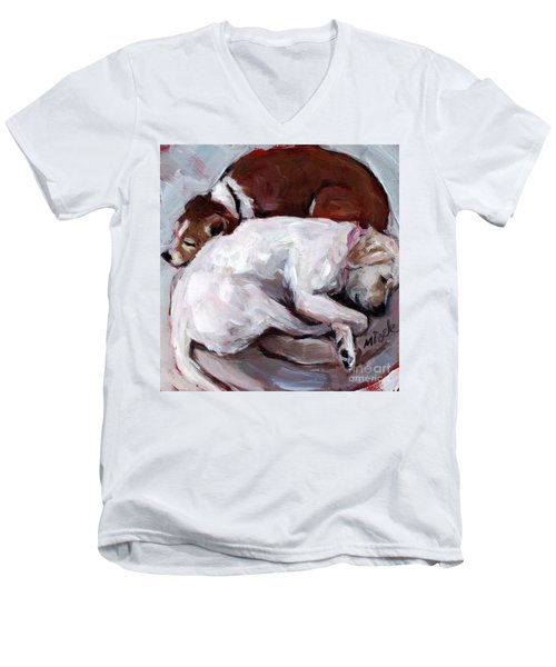 Men's V-Neck T-Shirt featuring the painting Cottonball by Molly Poole