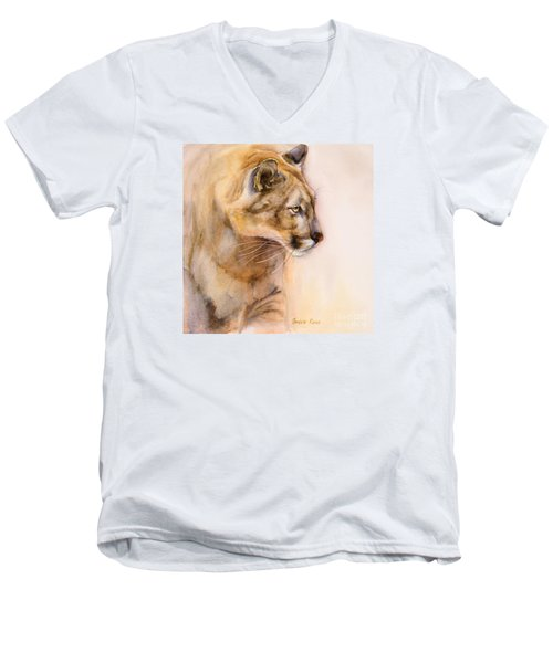 Cougar On The Prowl Men's V-Neck T-Shirt by Bonnie Rinier
