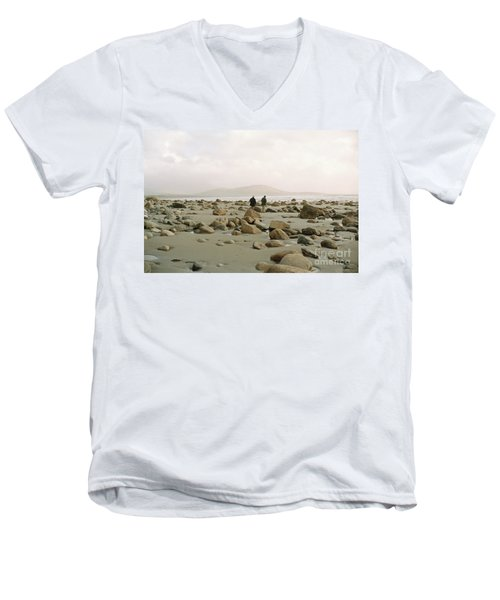 Couple And The Rocks Men's V-Neck T-Shirt by Rebecca Harman