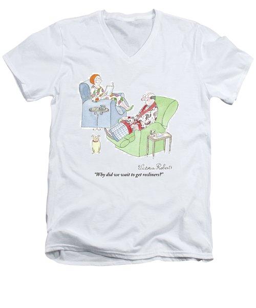 Couple Reading In Living Room Men's V-Neck T-Shirt