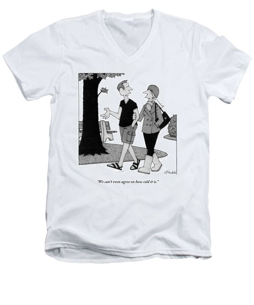 Couple Taking Walk Men's V-Neck T-Shirt