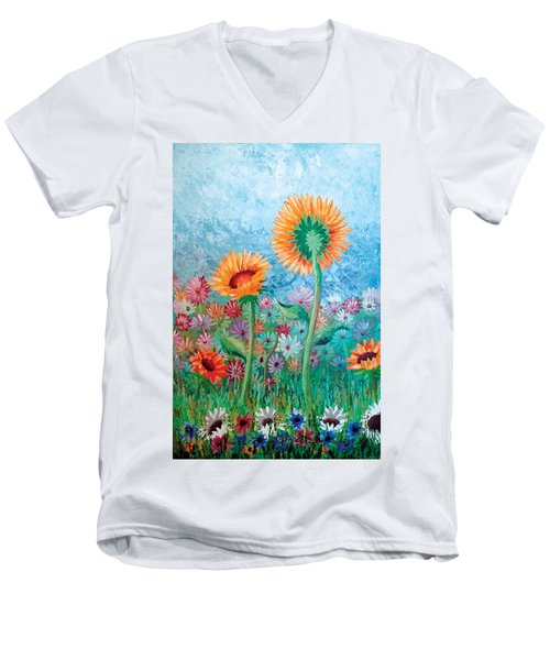 Courting Sunflowers Men's V-Neck T-Shirt