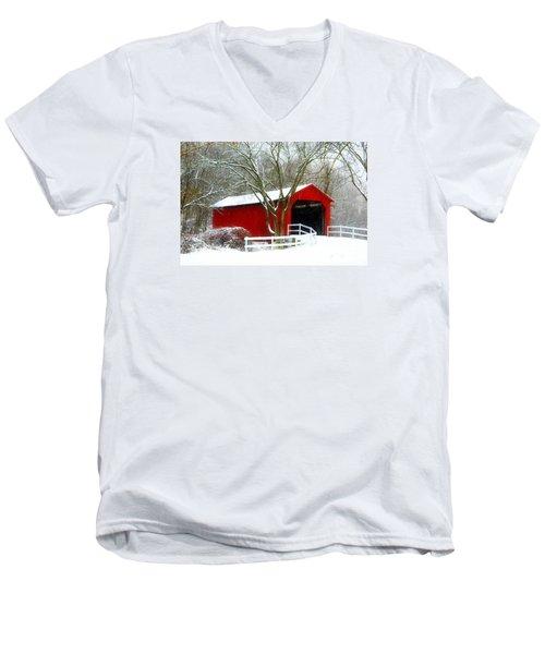 Cover Bridge Beauty Men's V-Neck T-Shirt by Peggy Franz