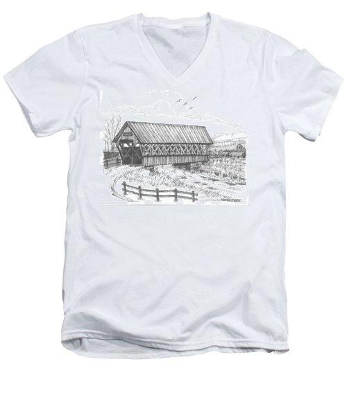 Covered Bridge Coventry Vermont Men's V-Neck T-Shirt