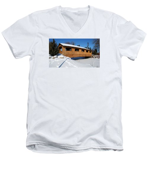 Covered Bridge Crossing The Stream Men's V-Neck T-Shirt by Janice Adomeit