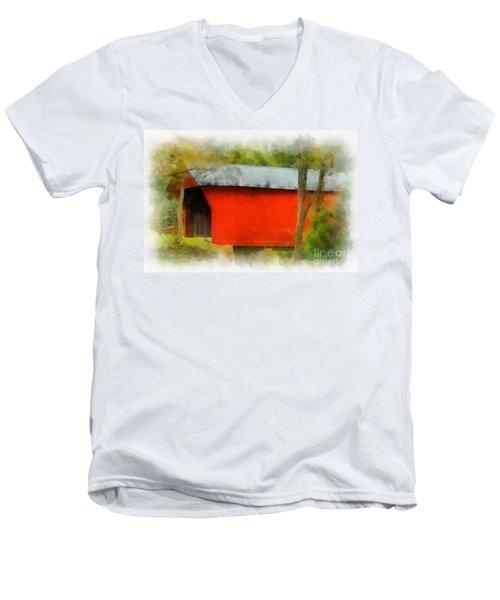Covered Bridge - Sinking Creek Men's V-Neck T-Shirt