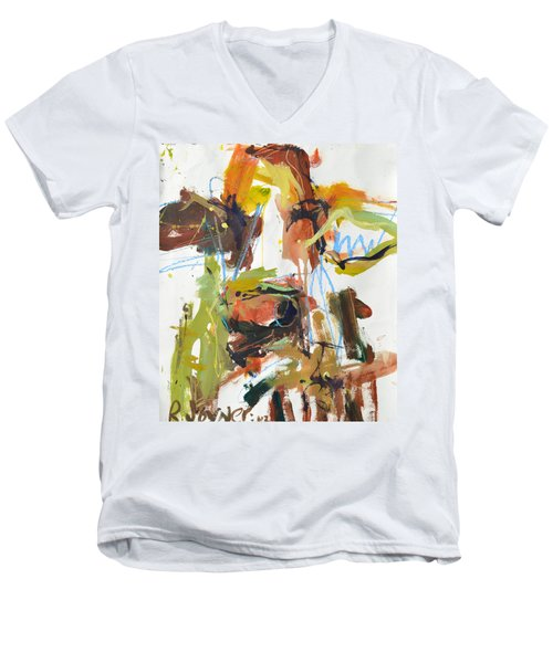 Cow With Green And Brown Men's V-Neck T-Shirt by Robert Joyner