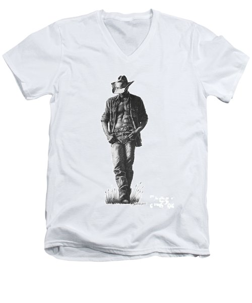Men's V-Neck T-Shirt featuring the drawing Cowboy by Marianne NANA Betts
