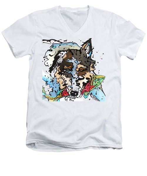 Men's V-Neck T-Shirt featuring the painting Coyote  by Nicole Gaitan
